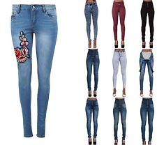 Ladies Womens Jeans High Waisted Embroidered Denim Skinny Fit Stretch Jeans