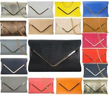 LADIES FAUX SNAKE LEATHER FOLD OVER ENVELOPE WEDDING PARTY EVENING CLUTCH BAGS