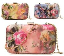 NEW LADIES FASHION HARD CASE EVENING FLORAL BRIDAL PROM OCCASION CLUTCH BAG