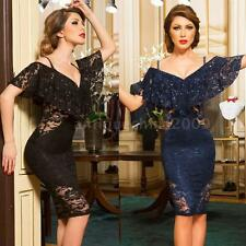 New Sexy Women Lace Dress Off Shoulder Ruffles Cocktail Party Elegant Dress R3S1
