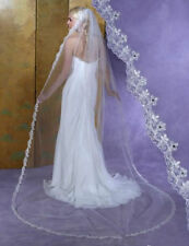 3M 1 Tier Cathedral Length Wedding Veil Lace Beads Bridal Veil Free Comb