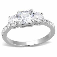3 Stone Type 6x6mm Princess CZ with Two Round CZ Stainless Steel Wedding Ring