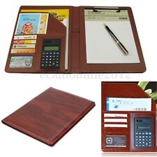 PU Leather Business A4 Document Organiser Conference Portfolio Folder Calculator