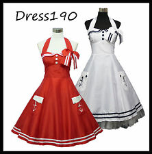 dress190 Red or White Halter 50's Rockabilly Cocktail Prom Ball Party Dress