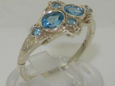 Vintage Hallmarked Solid 925 Sterling Silver Blue Topaz Ring FREE SIZING