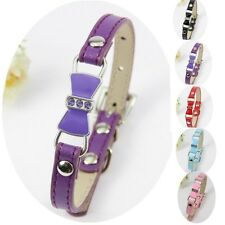 Cute Bowknot Dog Collars Pet Cat Puppy PU Leather Collars Neck Buckle Adjustable