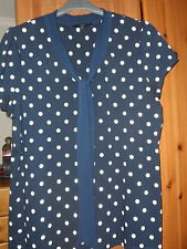 LADIES NEXT PLUS SIZE NAVY/CREAM POLKA DOT SMART PUSSY BOW T-SHIRT TOP SIZE 22