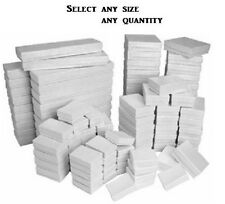 LOT of 20~50~100~500Pcs WHITE JEWELRY BOXES WHITE COTTON FILLED BOXES GIFT BOXES
