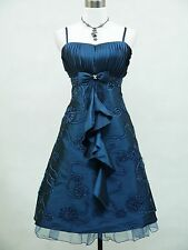 Cherlone Satin Blue Prom Ball Cocktail Party Gown Boho Evening Bridesmaid Dress