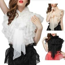 lace Blouse Gorgeous Button Glamour Tie Neck shirt vintage Chiffon Top Size 2-10