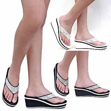 New Women FEv7 Black White Rhinestone Flip Flops Thong Wedge Sandals 6-10