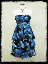 dress190 Blue Floral Strapless 50's Rockabilly Cocktail Party Prom Dress 8-16