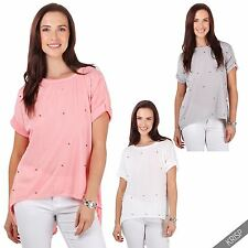 Womens Ladies Beaded Cut Out Split Back High Low Loose Tunic Top Blouse T Shirt