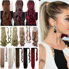 Long Wavy Clip In/On Hair Extensions Piece Curly Wrap Blonde Ponytail Women Ng4