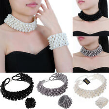 Fashion Jewelry Chain Resin Pearl Chunky Choker Statement Bib Necklace Bracelet