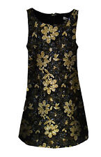 NEW GLAMOROUS @ TOPSHOP BLACK GOLD FLORAL SEQUIN PARTY SEASON SHIFT DRESS LOOK