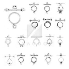 20-150pcs Lots Tibetan Silver Bar Ring Toggle Clasps Connector Jewelry Findings