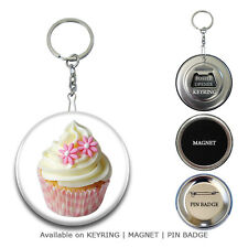 CUPCAKE Fridge Magnet | Button Badges Pin | Keyring Keychain Key Ring Chain