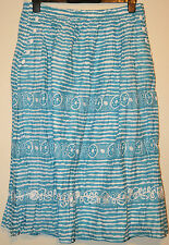 LADIES M&S PER UNA PURE COTTON STRIPED CRINKLE SKIRT SIZE 10 L32 TURQUOISE MIX