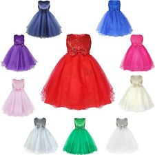 Flower Girls Sequined Tulle Dress Party Princess Wedding Bridesmaid Formal Gown