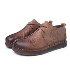 DESIGNER HANDMADE LEATHER SHOES VINTAGE OXFORD LACE UP FLATS ANKLE BOOTS BROWN