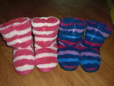 BNWT GIRLS JOULES PADABOUT STRIPED FLUFFY SLIPPERS SOCKS SIZE S or M.RRP £14.95