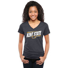 Kent State Golden Flashes Women's Double Bar Tri-Blend V-Neck T-Shirt - NCAA