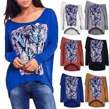 New Ladies Womens Lagenlook Butterfly Rose Off Shoulder Hi Lo Baggy Layering Top