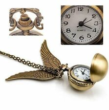 Antique Golden Snitch Quartz Pocket Watch Wings Necklace Chain (Box) LKCN