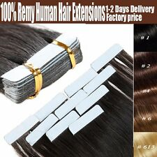 "100% Remy Tape In Human Hair Extensions 16""&18""&22"" Skin Weft 60PCS 150G Thick"