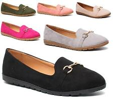 WOMENS FLAT BALLET PUMPS FAUX SUEDE GOLD METAL SLIP ON WALKING DOLLY SHOES 3-8