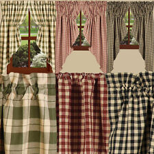 Plaid Check Country Gathered Swags Heritage House