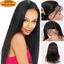"10-22"" 200g Brazilian Remy Human Hair Silky Full/ Lace Front Wig Black Baby Hair"