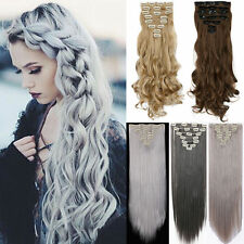 Real Thick Deluxe 8PC Clip In Hair Extensions Long Straight Curly Full Head Tmk