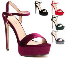 WOMENS STILETTO HIGH HEEL PLATFORM LADIES ANKLE BUCKLE STRAP SANDAL SHOES SIZE