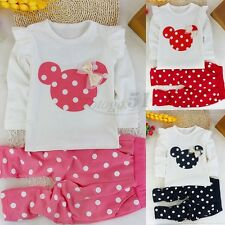 2PCS Cute Baby Girls Toddler Long Top Pants Outfits Set Polka Dot Outfit Clothes