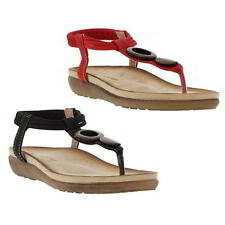 Heavenly Feet Phoebe Womens Toe Post Sandals Black Red Size 4-8