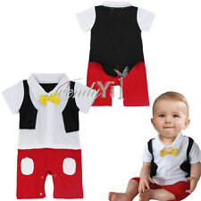 Baby Boy Gentleman Formal Mickey Mouse Tuxedo One Piece Bow Romper Suit Outfit