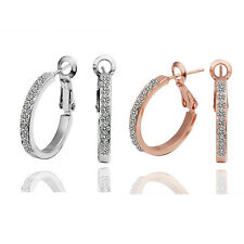18k White/Rose Gold Filled Shiny 19mm Small Crystal Hoop Earrings Women Jewelry