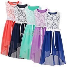 Girls Kids Formal Party Ball Gown Lace Floral Bridesmaid Wedding Chiffon Dress