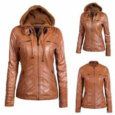 Punk Biker Women's PU Leather Outwear Coat Jacket Plus Size Hoodie Rocky Street