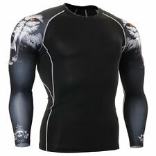 Men's 3D Print Long Sleeve Thermal Compression Under Base Layer Tights T-shirts