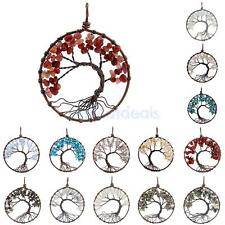 Handcraft Crystal Quartz Tree of Life Pendant Chakra Healing Gemstone Jewelry