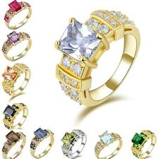 Woman's Gemstone Yellow Gold Filled Size 6,7,8,9,10 Wedding Fashion Ring Gift