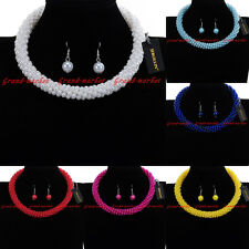 Fashion Jewelry Chain Resin Pearl Beads Choker Statement Pendant Bib Necklace