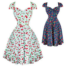 Hell Bunny April Cherry Print Retro Vintage 1950s Party Summer Sun Swing Dress