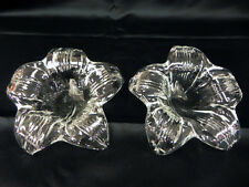 LOT OF 2 VINTAGE CLEAR ART GLASS DECORATIVE FLOWERS LILLIES PAPERWEIGHTS