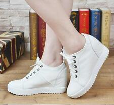 Womens Hidden Wedge Heel Leather Lace Up Ankle Boot High Top Sneaker Sport SHoes