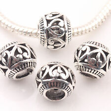 10/20Pc Tibetan Silver Big Hole Heart Carve Loose Spacer Beads Charms Craft 10mm