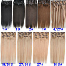 20''22'' 8Pcs 100g Clip In 100% Remy Human Hair Extensions Full Head Hairpiece